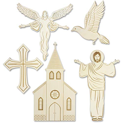 (Bright Creations 5-Pack Religious Church Wood Cutouts for Sunday School, Crafts, Painting, 5 Designs, Assorted Sizes)