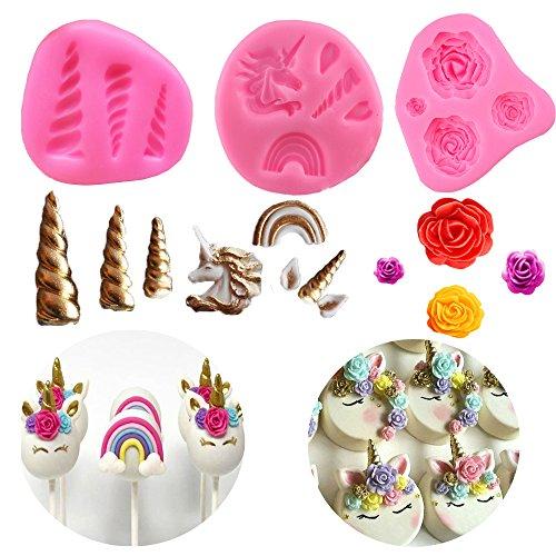 Mini Unicorn Mold, Unicorn Horn Ears Flower and Rainbow Cupcake Topper Fondant Chocolate Candy Sugarcraft Unicorn Cake Mold Set for Unicorn Themed Party (Set of 3)
