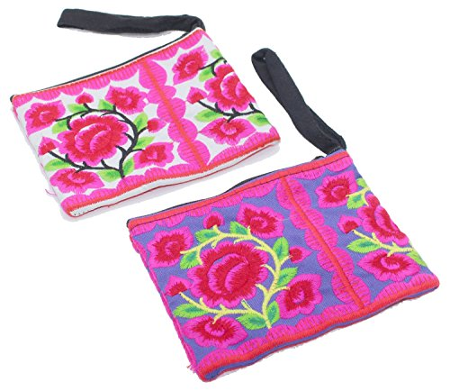 2 Hmong Wallet Bag Hill Tribal Flower Travel Pouch Handmade Chiang Mai North Thailand