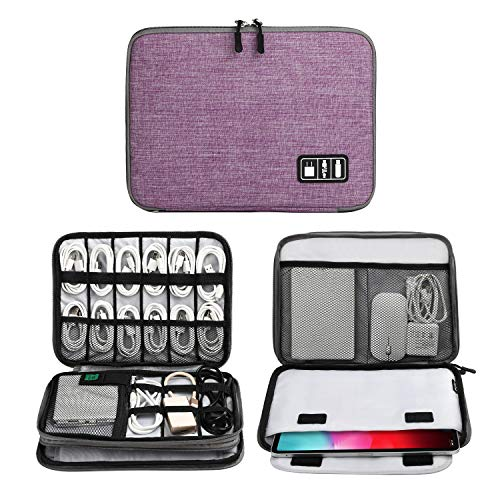 Electronics Organizer, Jelly Comb Electronic Accessories Cable Organizer Bag Waterproof Travel Cable Storage Bag for Charging Cable, Cellphone, iPad (Up to 11'' and More-Large (Purple and Gray)
