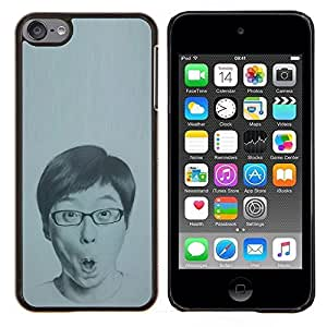 Eason Shop / Premium SLIM PC / Aliminium Casa Carcasa Funda Case Bandera Cover - Portrait Man Glasses Drawing - For Apple iPod Touch 6 6th Touch6