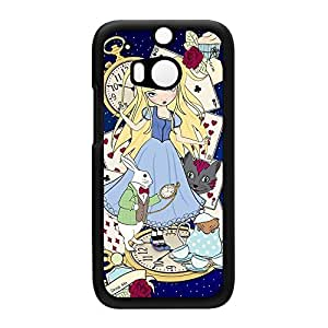 Alice in Wonderland Dark Black Hard Plastic Case Snap-On Protective Back Cover for HTC? One M8 by Gadget Glamour + FREE Crystal Clear Screen Protector