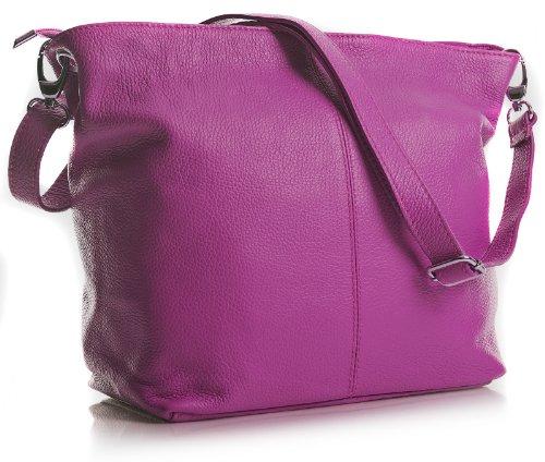 Dama Bolso Mediano cm Legítima Pink Magenta italiana 30x25x14 de Piel Hombro BHBS en LxAxP para Rosa TwHpq