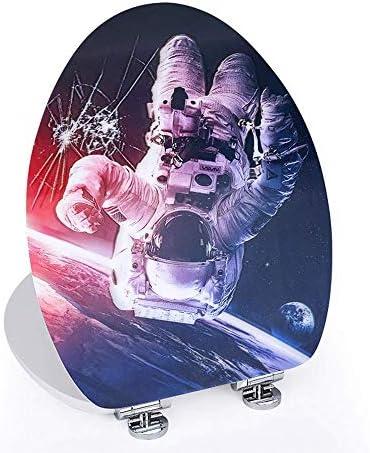 RBZCCP 便座3Dスペースマン柄ホーム便蓋MDFレトロ太いタイプミュート降順便座36 * 44センチメートル ほとんどのトイレに適合