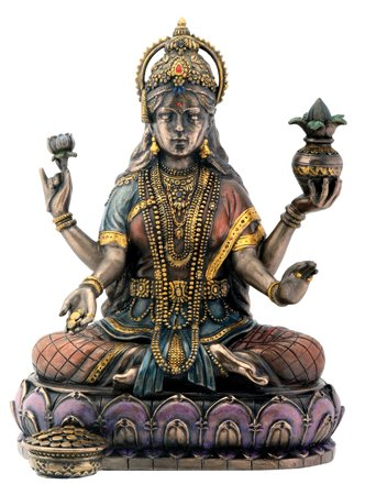 Bronze Hindu Goddess Lakshmi On Lotus Hinduism Display Statue by Summit Collection