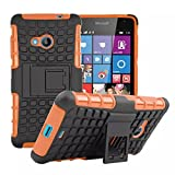 Lumia 535 Case [iCoverCase] Heavy Duty Armor Hybrid [Dual Layer] KIickstand Back Holster Shockproof Cover Protecive Case for Microsoft Nokia Lumia 535 (Orange)