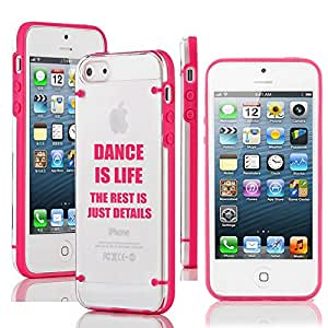 Apple iPhone 4 4s Ultra Thin Transparent Clear Hard TPU Case Cover Dance Is Life (Hot Pink)
