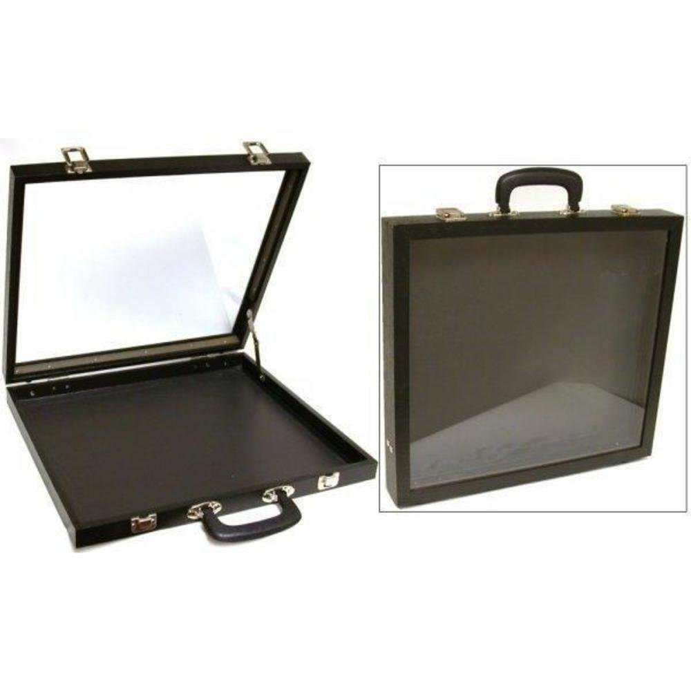 Jewelry Travel Case Glass Top Showcase Display Fixture by FindingKing