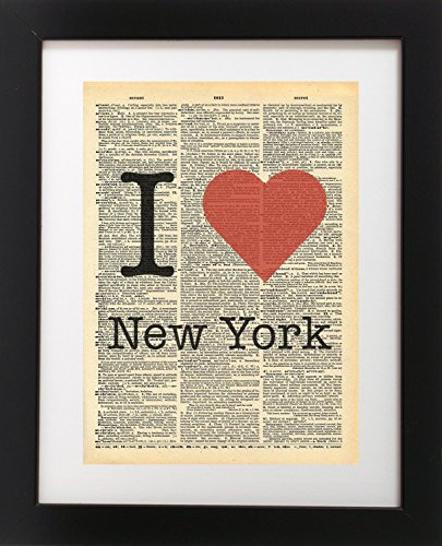 Nyc Art (I Heart New York NYC - Vintage Dictionary Print 8x10 inch Home Vintage Art Abstract Prints Wall Art for Home Decor Wall Decorations For Living Room Bedroom Office Ready-to-Frame)