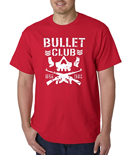 New Way 786 - Unisex T-Shirt Bullet Club Skull Bone Soldier Japan Pro Wrestling Large Red