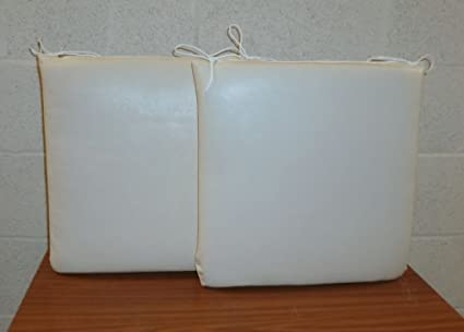 Excellent 2 X Small Square Cream Faux Leather Dining Chair Cushions Seat Pads Size 41Cm X 41Cm X 5Cm Wipe Clean Fabric Beatyapartments Chair Design Images Beatyapartmentscom