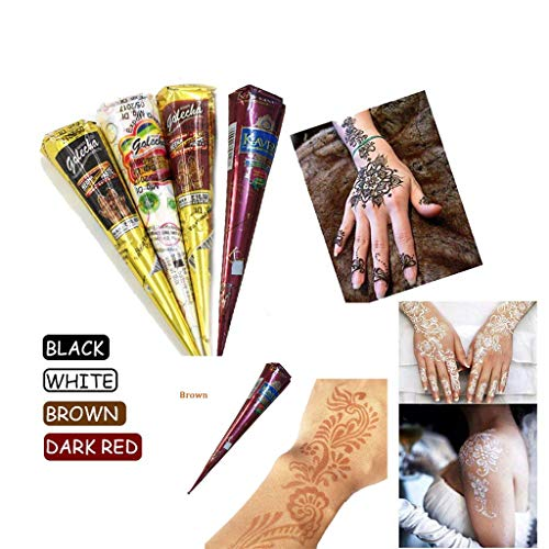 Brown Paste - UNBRUVO India Painting Tattoo Paste Cone 4 Tube Brown Paste Cone Indian Body Art