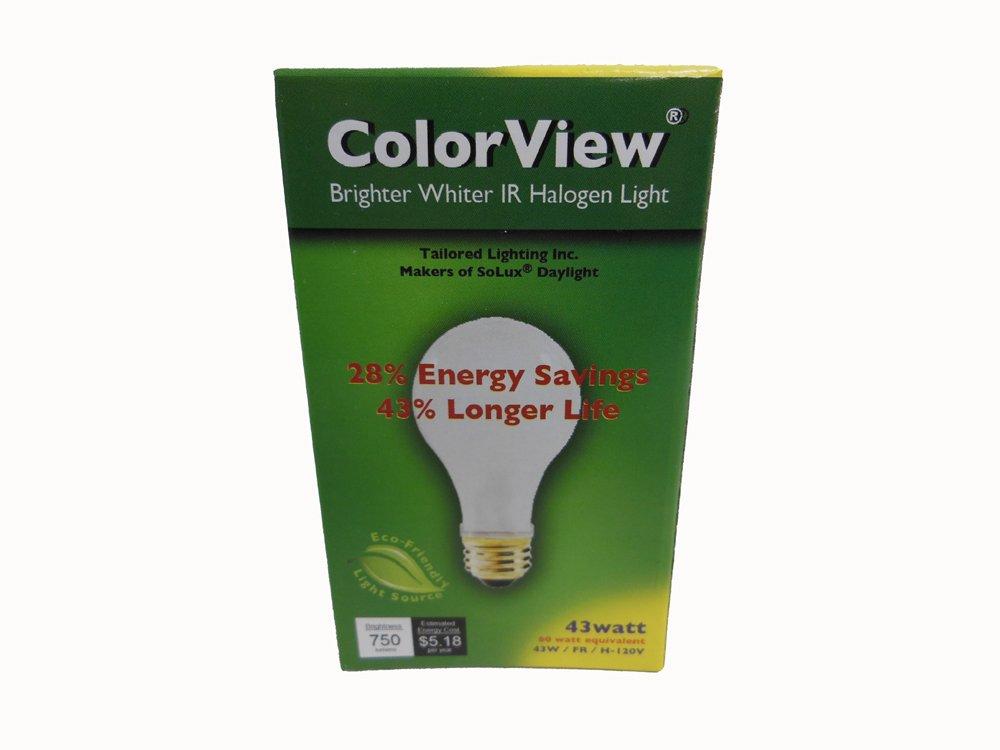 ColorView Energy Efficient 43 Watt (60 Watt Equivalent) Incandescent Replacement Light Bulb for Home and Kitchen. Quantity 10