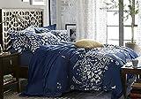 Navy Blue Duvet Cover Set, Gray Grey Floral Flowers Tree Leaves Pattern...