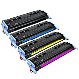 HOTCOLOR 4 Pack Toner For Q6000A, Q6001A, Q6002A, Q6003A, (124A) Compatible With Laser Jet 1600, 2600n, 2605dn, 2605dtn, CM1015MPF and CM1017MFP