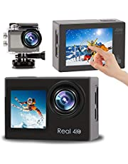 $88 » LByzHan 2021 4K 60fps Action Camera with EIS Stabilization 20MP Front Display and Rear Touchscreen Waterproof Underwater Camera Remote Control WiFi Sports Cam for Yotube Vlog Videos 170° Wide Angle
