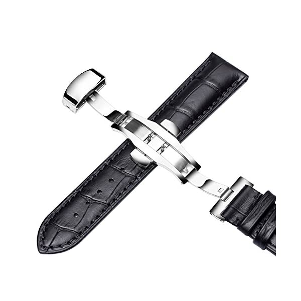 Genuine Calf Leather Watch Band Strap Alligator Grain with Butterfly Buckle for Men Women 18mm/20mm/22mm Black Or Brown