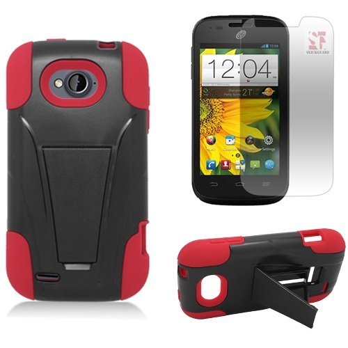 [SlickGearsTM] Heavy Duty Dual Layer Impact Armor Kickstand Case for ZTE Reef N810 aka ZTE AWE N800 (Virgin Mobile) ZTE Savvy Z750C (Straight Talk, Net10, TracFone) + Premium Screen Protector Combo (Red) (Virgin Mobile Awe Case compare prices)