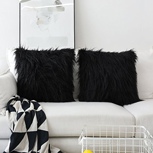 (HOME BRILLIANT 2 Packs Decorative Luxury Series Throw Pillow Case Black Fuzzy Pillows Cushion Covers 18