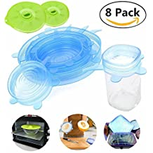 6 Silicone Stretch Lids & 2 Silicone Suction Lids, Reusable, Magnolora Durable and Heat Resistant Food Saver Covers, Multi-Size Stretchable Food Lids for Bowls, Cups, Pots, Can, Mason Jar