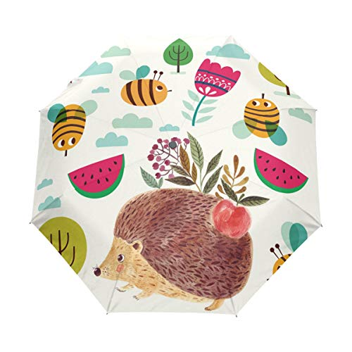 9511fecc9d02 My Daily Cute Hedgehog Bee Travel Umbrella Auto Open/Close Lightweight  Compact Windproof
