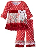 Flap Happy Baby Girls' Mini Miranda Set With Dress & Ruffle Pant, Cranberry Holly, 3 Months