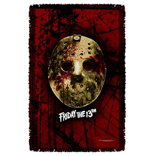 [Woven Throw: Jason Vorhees Bloody Mask - Friday The 13th] (Jason Vorhees Masks)