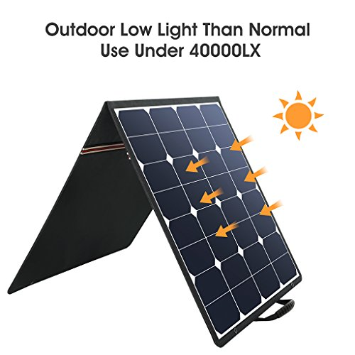 Suaoki 100W 18V 12V Solar Panel Charger SunPower Cell Portable Foldable with Dual Output (5V/2A USB + 18V/5A DC), 10 Laptop Connectors for Smartphones, Laptops, Car Batteries, Generator, Power Source by SUAOKI (Image #2)