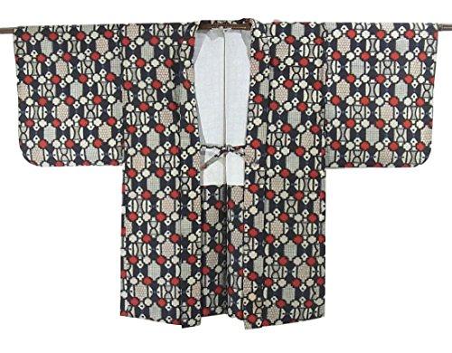 鋭くバンケットインタネットを見るリサイクル 羽織 銘仙  幾何学文様 正絹 裄62cm 身丈84cm