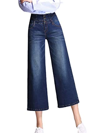 Minghe Womens High Waisted Wide Leg Jeans Stretch Denim Bootcut/Cropped Flare Jean