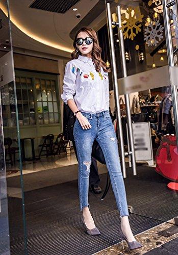Jeans Outdoor Di Estate Skinny Elegante Dimagranti Sollevamento Charme Signore Strappati Butt Blu3 Dexinx Pantaloni Stretch wZycgqaCI