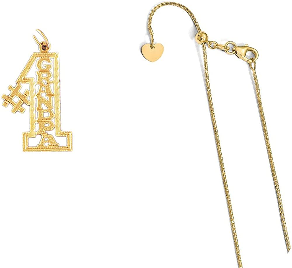 14K Yellow Gold #1 Grandpa Pendant on an Adjustable 14K Yellow Gold Chain Necklace