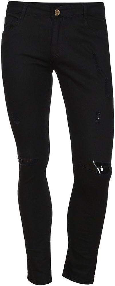 Manadlian Pantalon a Trou Slim Jeans Gar/çons Pants de Denim D/échir/é Skinny Pantalon de Sport Ete 2019 Jean Droit Homme