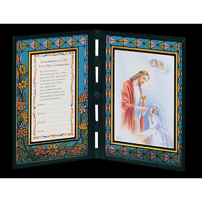 First Holy Communion Remembrance Frame Italian Stained Glass - Girl Spanish ()