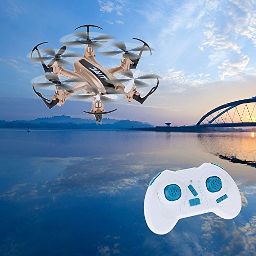 Cheap ECLEAR RC Mini Drone, JJRC 4 Channel 2.4GHz 6-Axis Gyro Aircraft Unmanned Pocket Helicopter + Headless Mode 3D Roll Remote Control Quadcopter for Adult Kids Aerial Photography Racing Golden