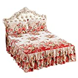 WINOMO Beddings Bed Skirt Flowers Pattern Bedspread Coverlet Set with 2pcs Pillow Case(78.7 x 86.6inch)