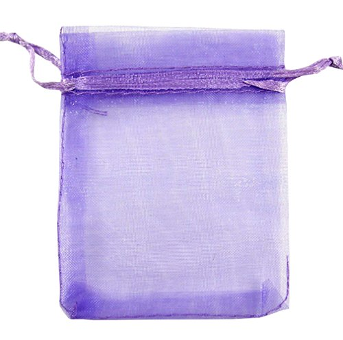 MXY Organza Drawstring Bag Party Wedding Gift Candy Pouches 10x12cm/3.9x4.7inch Purple 100PCS ()