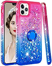 Bling Case for iPhone 11 Pro, CrazyLemon Shiny Heart Shape Quicksand & Full Side Rhinestone Design Pink + Blue Shockproof Soft Silicone TPU Case Cover with Ring Holder Kickstand for Girls Women - 05
