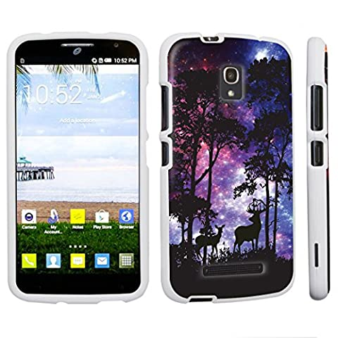 DuroCase ® Alcatel One Touch POP Mega LTE A995G Hard Case White - (Space Forest) (Alcatel A995g Wallet Case)