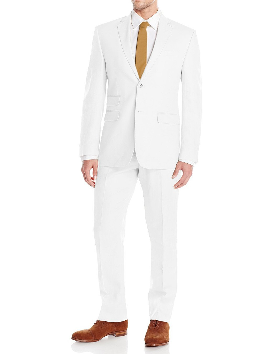Gino Valentino Men's Modern Fit Summer Two Button Two Piece Linen Suit Set (38 Short US / 48S EU/W 32'', White)