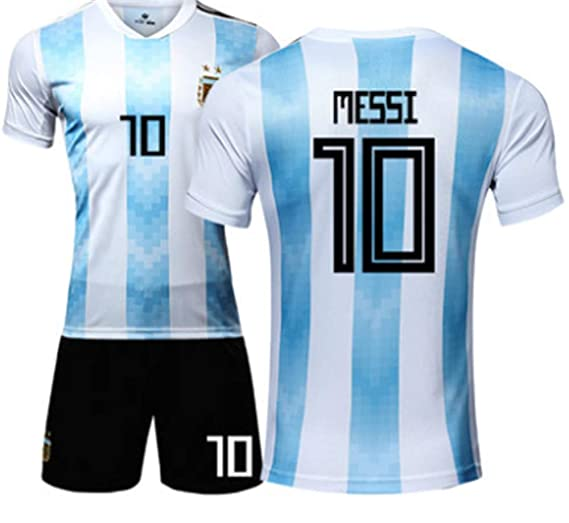 2bcb390d301 LISIMKE 2018-2019 Home Messi  10 Argentina Kids Or Youth Soccer Jersey    Shorts