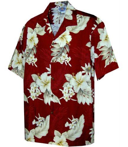 Pacific Legend Tropical Floral Hibiscus and Plumeria Hawaiian Shirt (XL, Red)