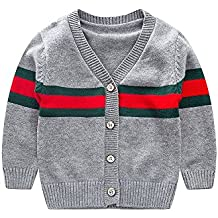 XIAOER Baby Crochet Sweater Kids Button Up Cardigan V-Necked Spring Tops 1-4Years