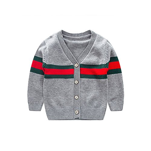 RAOEXI Baby Crochet Sweater Kids Button Up Cardigan V-Necked Spring Tops 1-4Years (3T, Dark Gray)