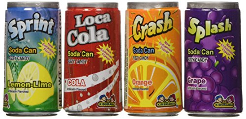 Kidsmania Soda Can Fizz Candy Variety Pack: Sprint Lemon Lime, Loca Cola, Crash Orange, Splash Grape - 0.25 Ounce, 72-Pack ()