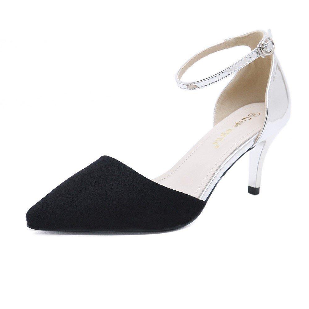 WHL Schuhes Hochhackige Schuhe Sandalen Und Stilvolle Satin Spitze Geschlitzten schwarz Hasp Fein Mit schwarz Geschlitzten 05ca1d