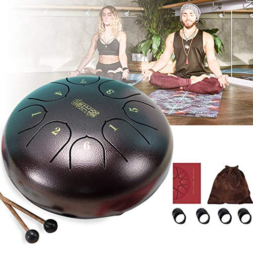 Airgolf Steel Tongue Drum, 8 Notes 6 Inch Percussion C Tune Drum Instruments with Drawstring Pocket, Mallets, Finger Cot, Suitable for Music Lovers/Yoga Meditation