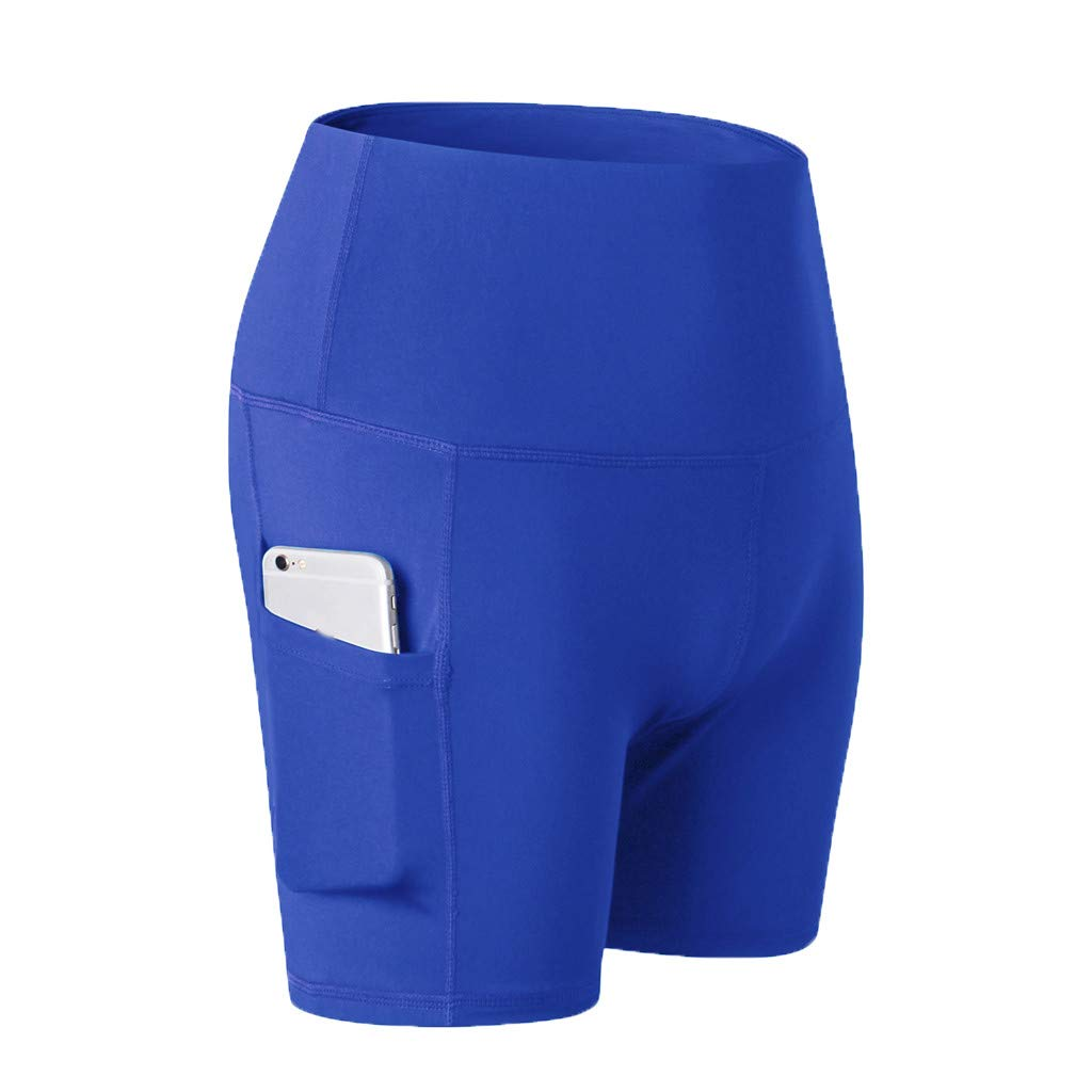 Yago Pants for Women, High Waist Out Pocket Solid Color Workout Sports Running Fitness Short Pants (S, Blue)