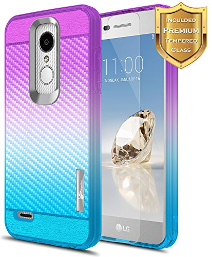 LG Aristo 2 Case (X210), LG Tribute Dynasty Case (SP200), LG K8 2018 Case with [Tempered Glass Screen Protector], NageBee [Frost Clear] [Carbon Fiber] Slim Soft Protective Case -Purple/Blue