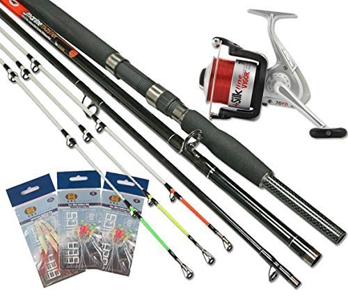 Sea Fishing Boat Beach Rod 3 PC 3 Multi Tips With Reel +Tackle Feathers...